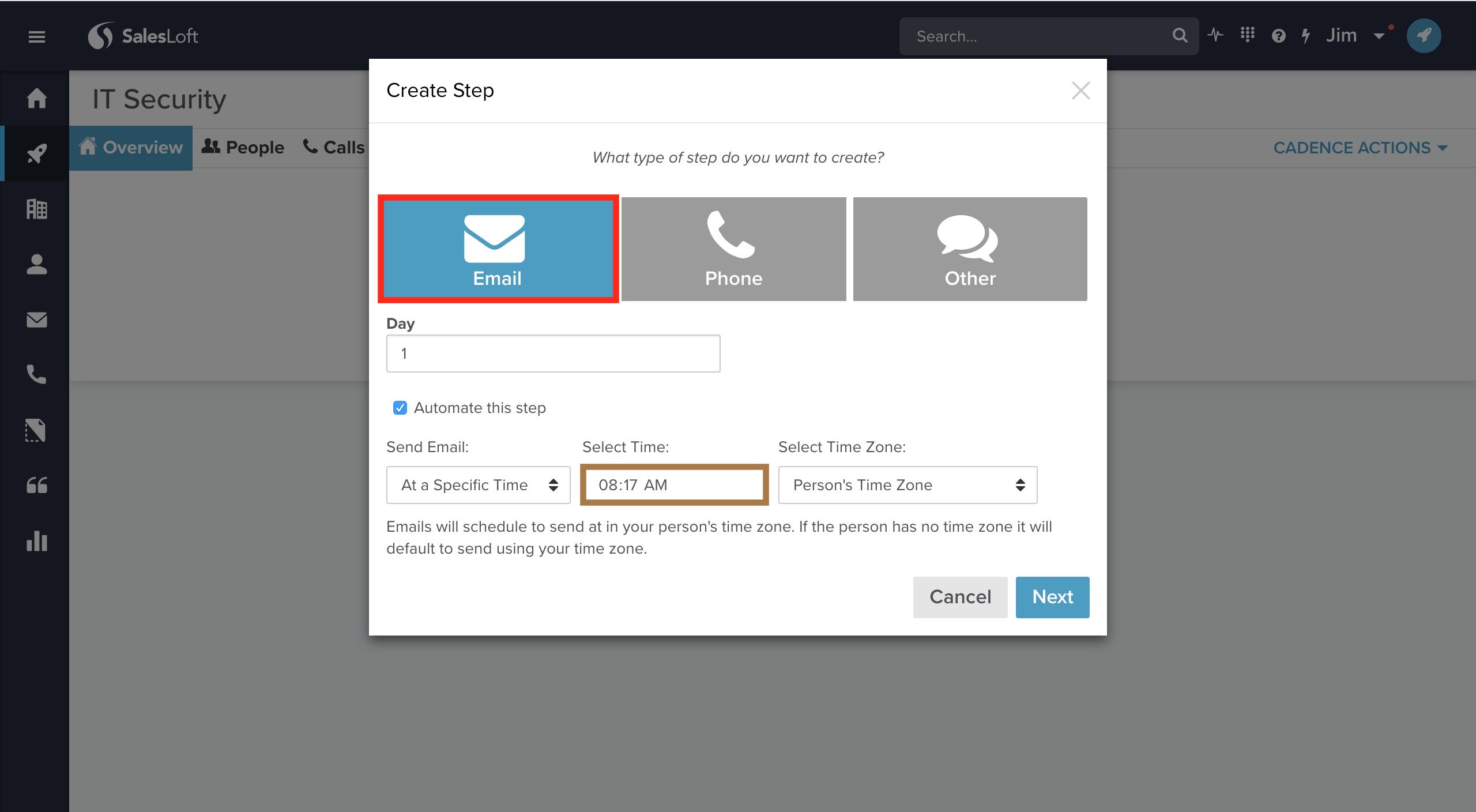 Making a SalesLoft Cadence – LeadIQ
